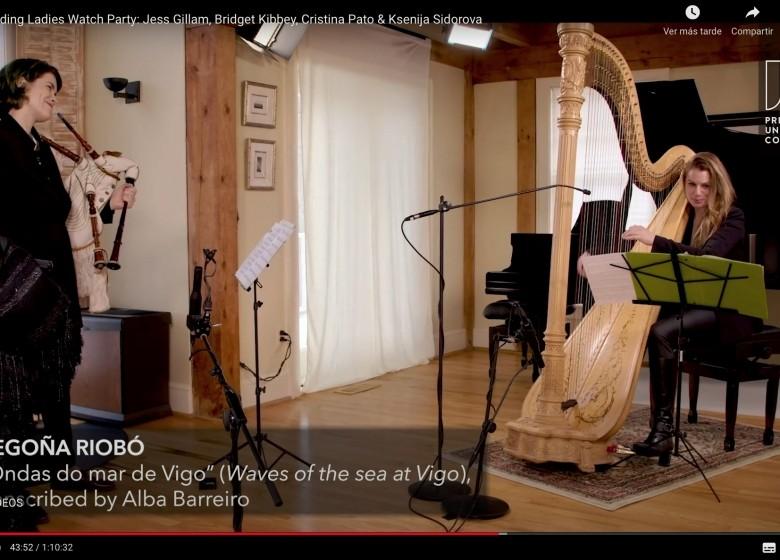 """GALAXIA ETRAD. Cristina Pato e a harpista Bridget Kibbey inclúen a composición e arranxo da mestra de arpa céltica, Begoña Riobó, sobre a cantiga """"Ondas do Mar de Vigo""""  nun concerto para a Universidade de Princeton"""