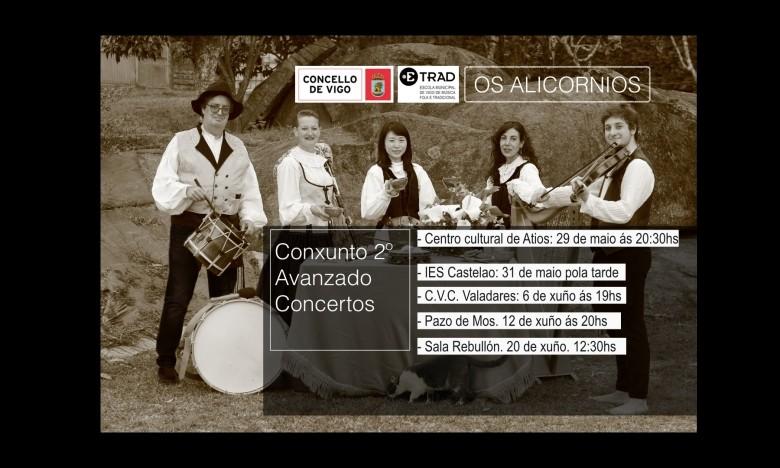 EXTRAESCOLARES ETRADVIGO 2020-21. OS ALICORNIOS. último concerto da xira. Sala Rebullón, 20/06/21, 12:30h.