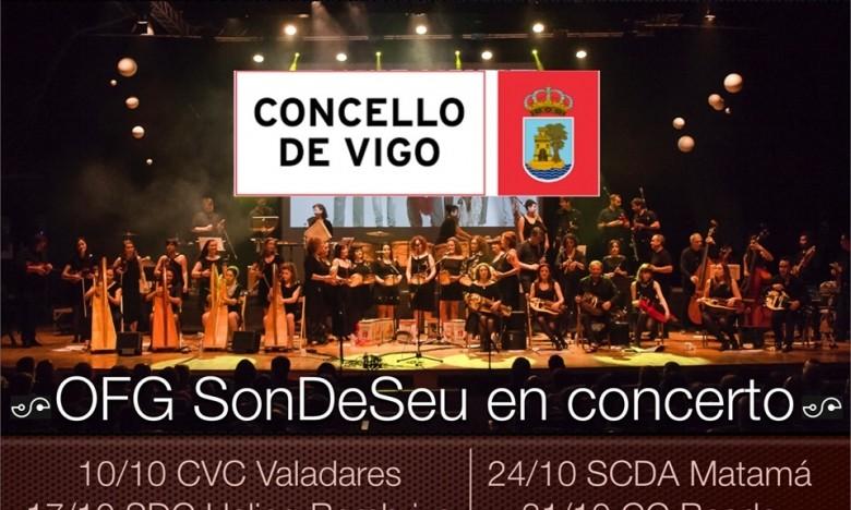 OFG SonDeSeu. Xira de outono. Centros culturais de Vigo. 10/10 no C.C. de Valadares. 17/10 na S.D.R.C. Helios de Bembrive.  24/10 na S.C.D. Atlántida de Matamá. 31/10 na C.C. de Beade.