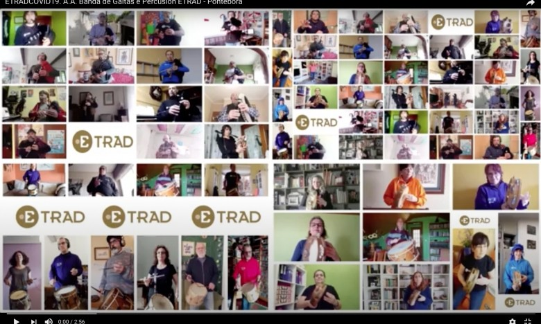 NOVAS ETRAD. A Aula Aberta da Banda de Gaitas e Percusión da ETRAD grava en confinamiento A Pontebora de Moxenas